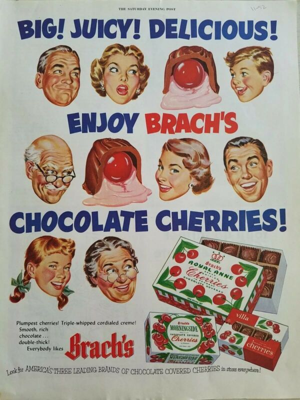 1952 Brachs  Royal Anne Morningside Villa chocolate covered cherries candy ad
