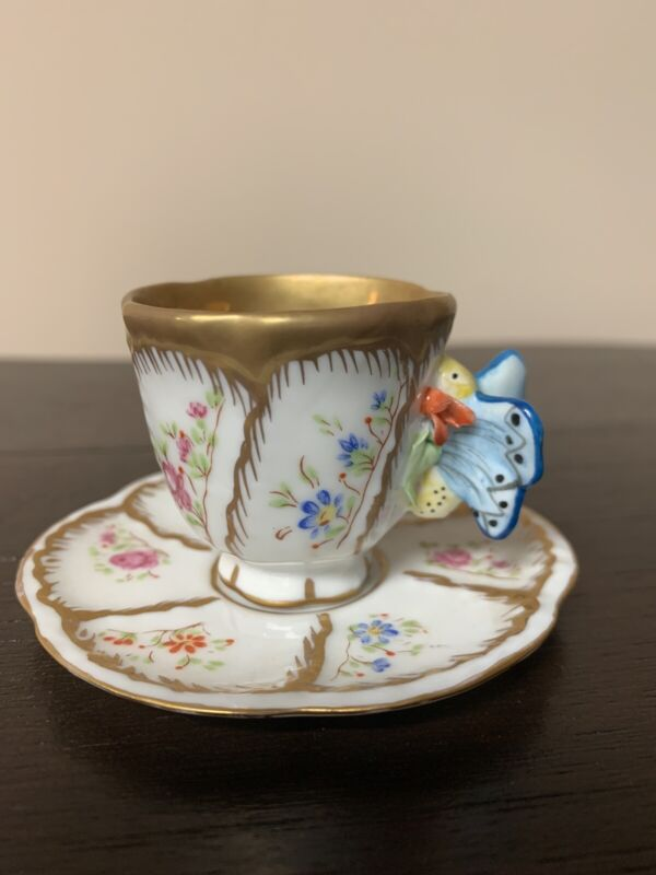 Antique Teacup Cup Saucer Butterfly Handle Mint Floral Portugal PAC Signed 2""
