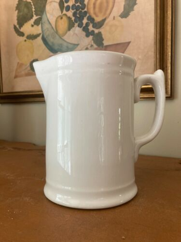 "Antique / Vintage 7"" White Ironstone Farmhouse Milk Pitcher, Standard USA"