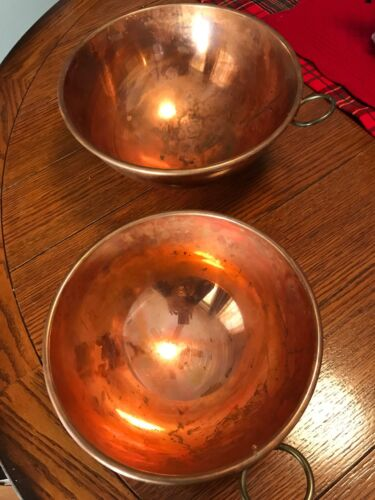 "Vtg Set Of 2 SOLID COPPER CANDY KETTLES Round Bottom BOWLS 10.5"" & 8.5"" England"