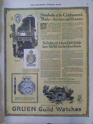1920 Gruen Guild watches V 614 G pocket watch style vintage original ad