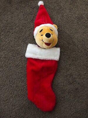 "Big POOH Christmas STOCKING 19"" Plush Disney Santa's Best Pooh Vintage Stuffed"
