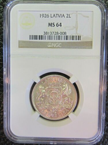Latvia Silver 1926 2 Lati - MS64