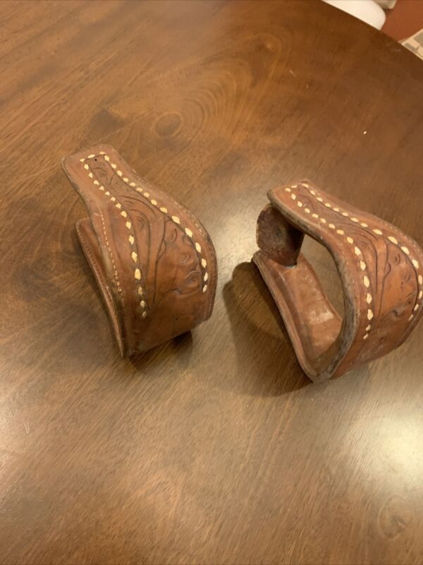 Old Western Vintage Leather Engraved Stirrups Saddle Ready Made In The USA