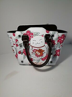 "JAPANESE MANEKI NEKO ""GOOD LUCK"" HAND BAG W/ CROSSOVER STRAP (NEW NEVER USED)"