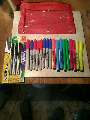 Markers Mix Lot 21 Sharpie Permanent Highlighters Ultra Fine Pens With Bag
