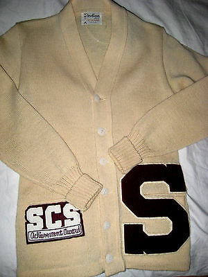 VINTAGE 50's INDIAN WOOL LETTERMAN ACHIEVEMENT AWARD CARDIGAN SWEATER-NWOT-XS