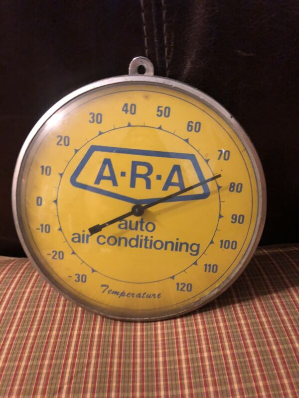 """Vintage ARA Auto Air Conditioning Glass Face 6"""" Thermometer Working"""
