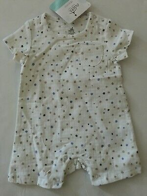 Aden by Aden & Anais Baby Boy Muslin Romper Size 3 6 Months Polka Dot White Blue
