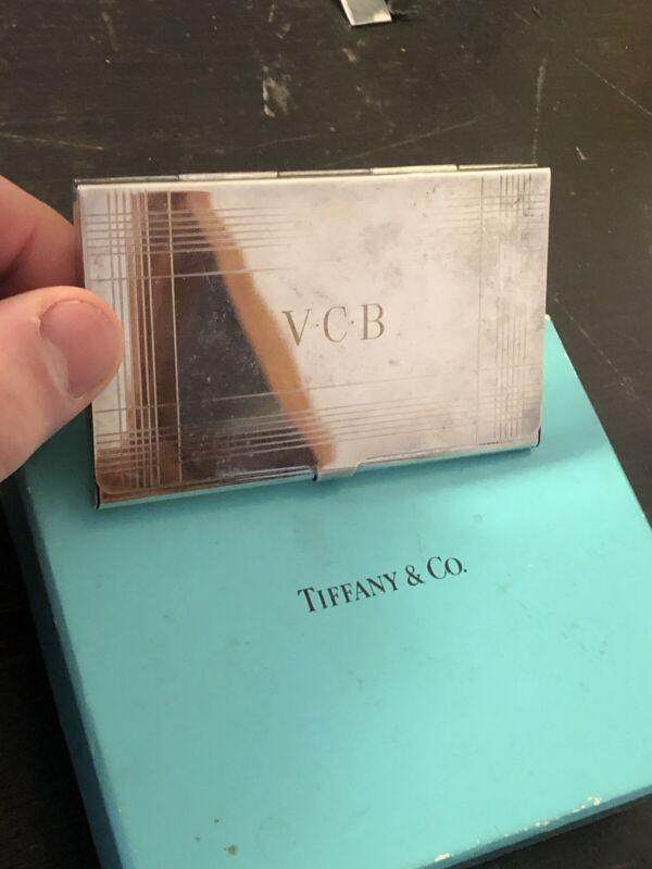 Vintage Tiffany & Co. Sterling Silver Business Card Holder Monogrammed V.C.B