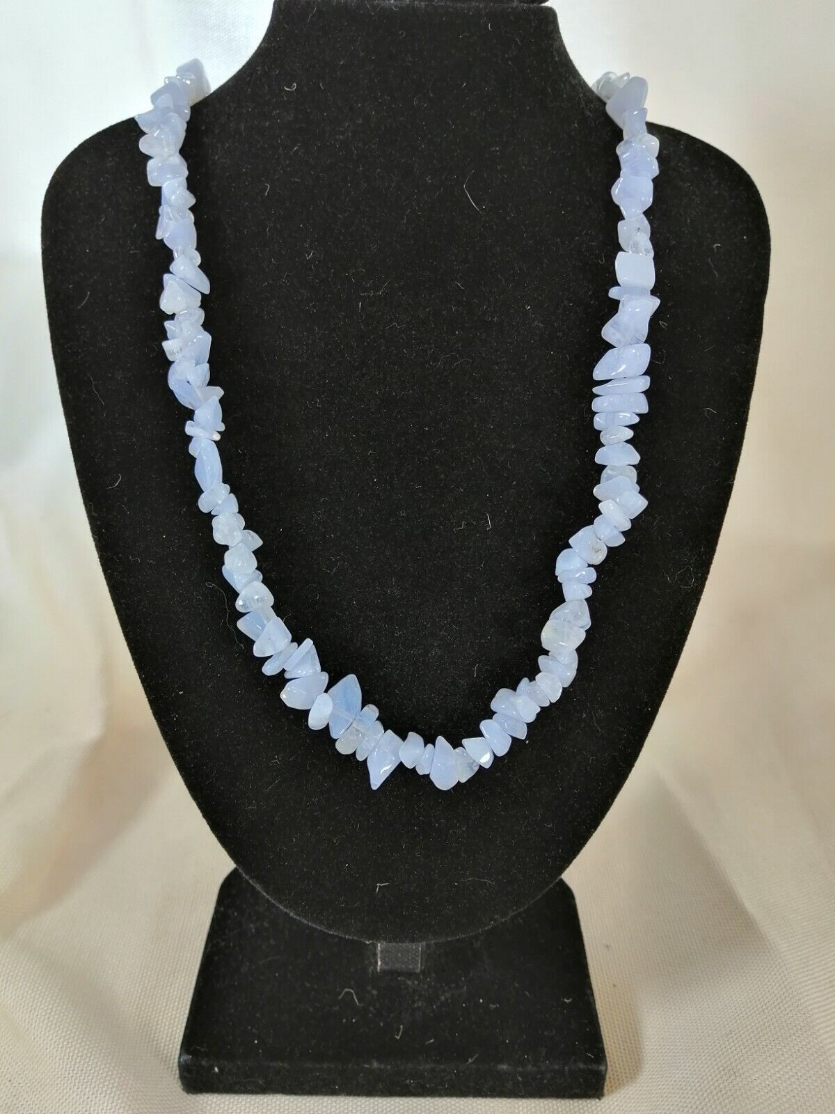"Blue Lace Agate Chip Necklace 16"" to 34"", Long Necklace, Short Necklace"