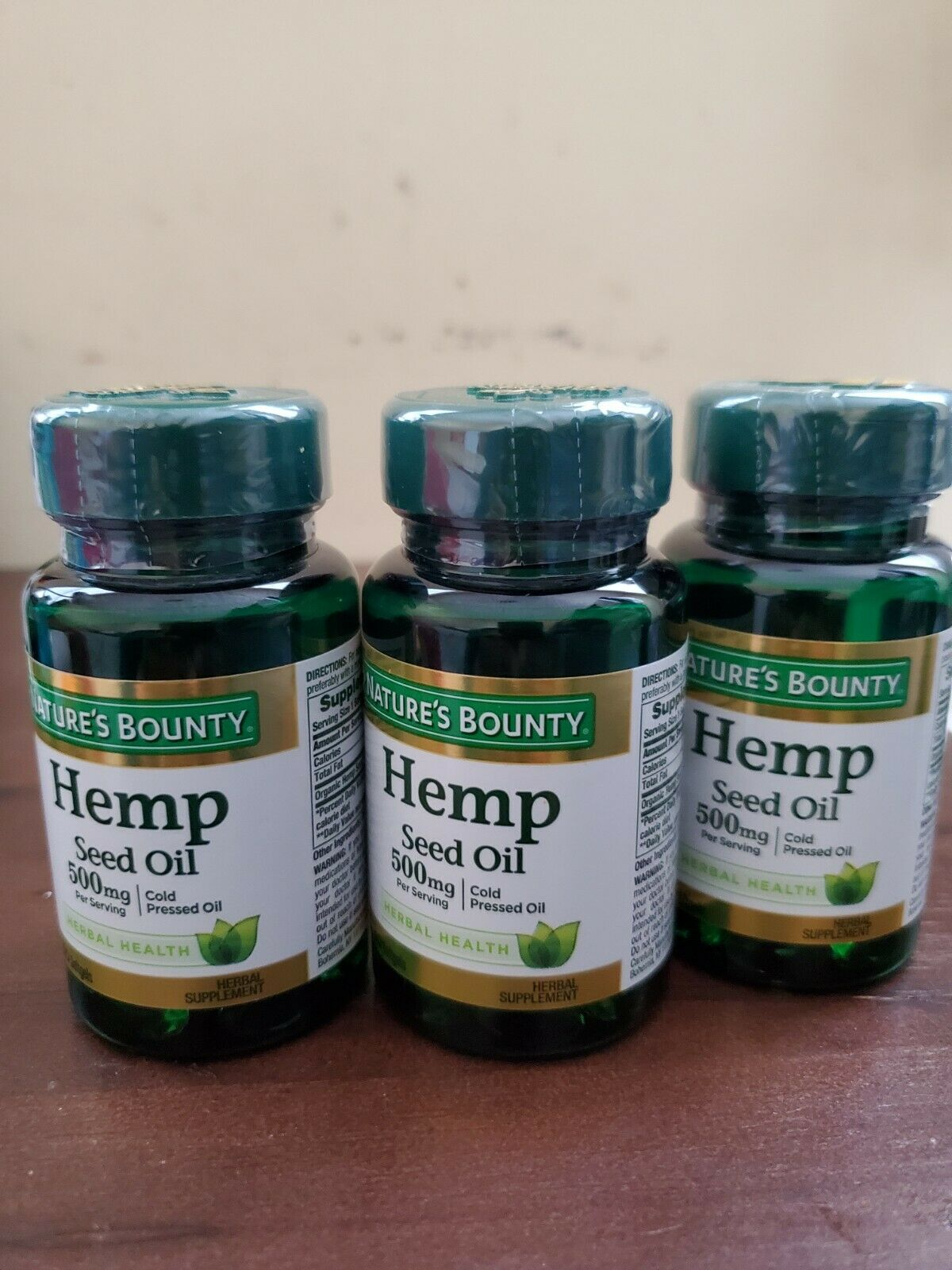 3 Paks Nature's Bounty HEMP Seed Oil 500 mg cold pressed oil 30 SOFGELS EXP12/22