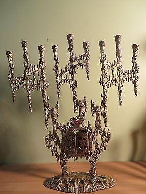 "Vintage Hanukkah Israel Menorah Brass Judaica Opening Panels Torah  13"" WAINBERG"