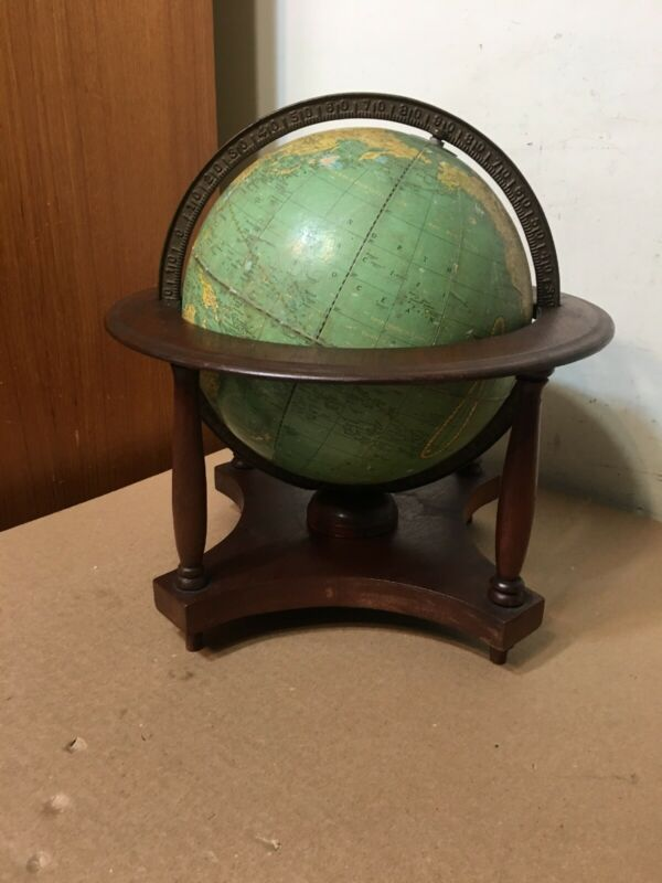 """Rare Vintage Crams 9"""" Terrestrial Globe W/ Wood Stand Rare Size"""