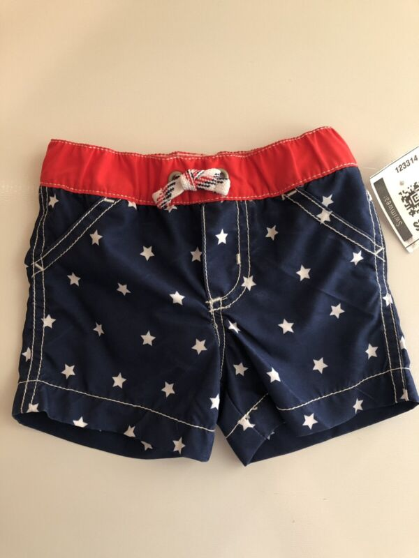 Carter's Infant Red White and Blue Swim Trunks Size 6 Months