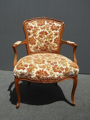 Vintage French Provincial Rococo Orange & White ACCENT ARM CHAIR Mid Century