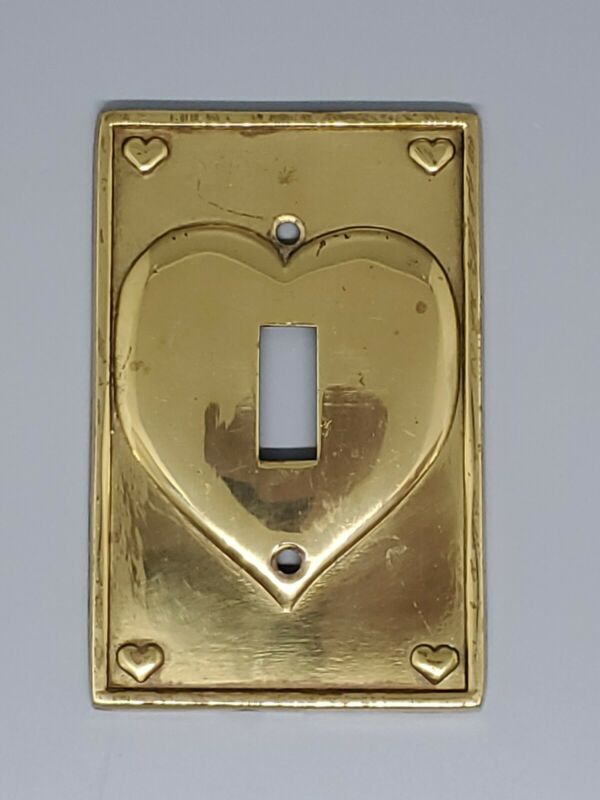 Vintage Brass Light Switch Plate Cover Raised Heart Design Queen of Hearts 1986