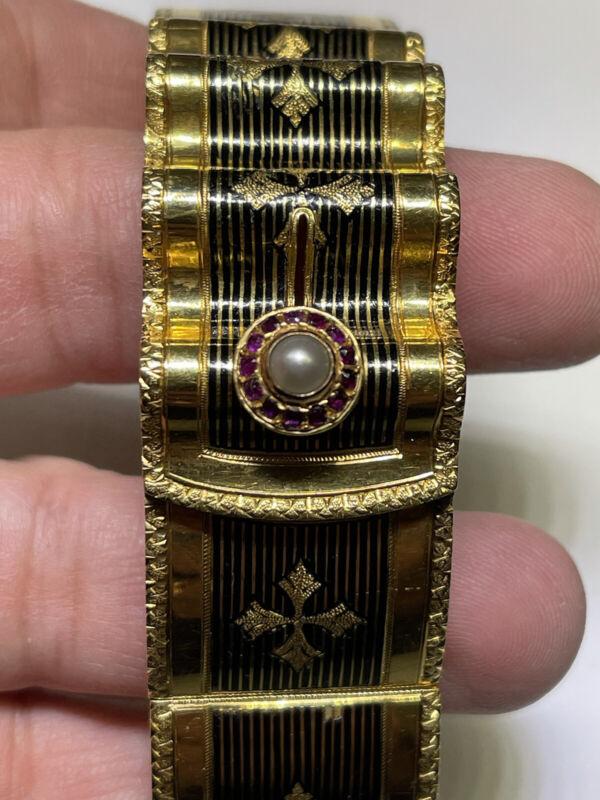 Art Nouveau (ca. 1895) 18K Yellow Gold Ruby Pearl Bracelet w/ Black Enamel-6 7/8