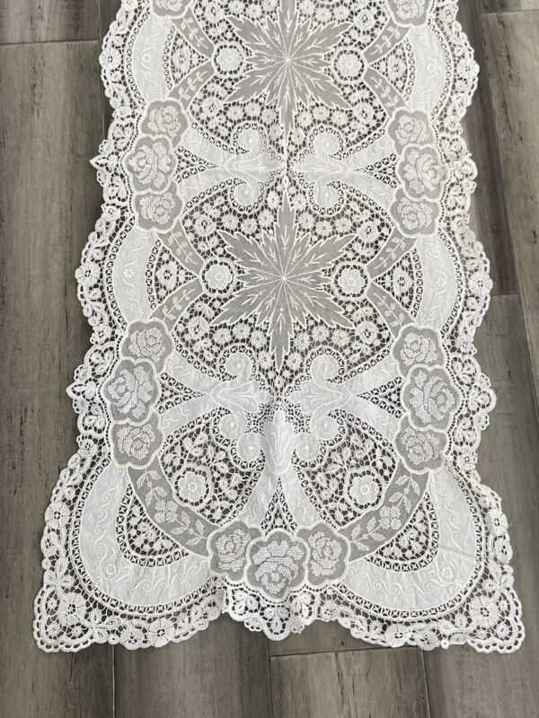 Antique French Schiffli Lace Table Runner - 72""