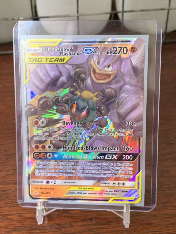 Ultra Rare Marshadow & Machamp Gx Tag Team Sm Unbroken Bonds 82/214 Pokemon - Lp