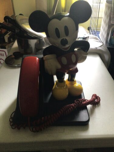 Vintage Disney Mickey Mouse Corded Land Line Touch Tone Telephone-1996 WORKS