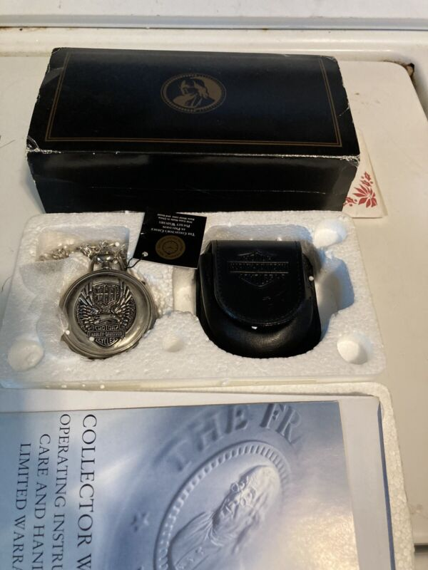 """FRANKLIN MINT Harley-Davidson """"Wings of Glory"""" Pocket Watch gift collectible"""
