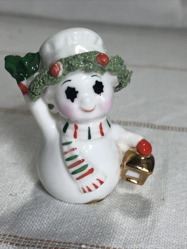 Vintage Napcoware Miniature SNOWMAN Bone China Spaghetti Trim Figurine Christmas
