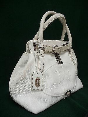 Fendi Selleria Villa Borghese White Leather Tote Bag Limited Edition