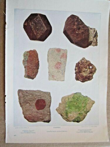 1902 ANTIQUE GARNET STONES ROCKS MINERALS LITHOGRAPH PRINT