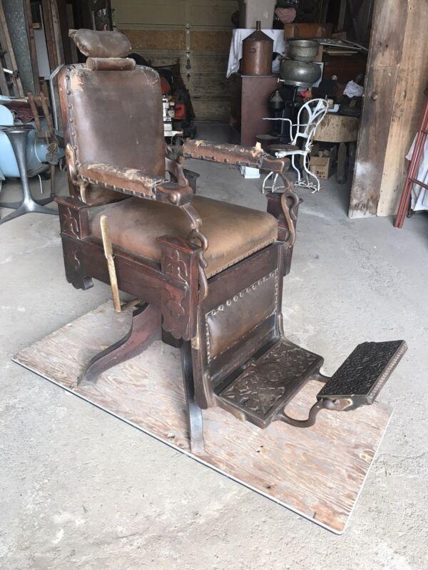 Early Koken Congress One Lever Oak As Found Original Antique Barber Chair
