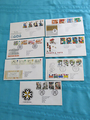 7 x Royal Mail First Day Covers: Children: Verse, Fairs,Games,Toys etc see photo
