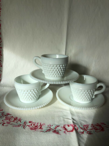 Set of 3 Westmoreland milk glass hobnail cups and saucers