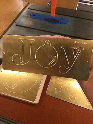 Joy With Ornament Holiday Brass Master Plate For New Hermes Engraver Font Tray