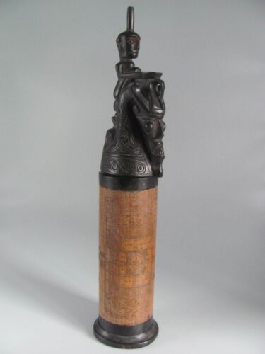 Vintage Batak Carved Calendar Flask from Indonesia