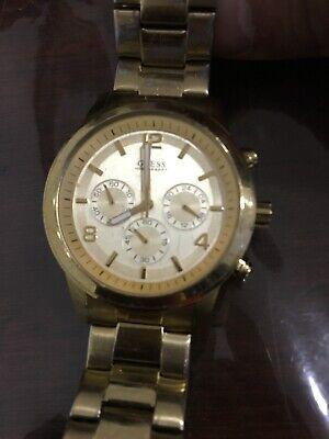 GUESS Gold tone Bold Contemporary Waterpro Chronograph Watch U15061G2 Works