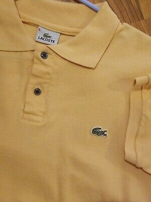 Lacoste Mens Size 5 Short Sleeve Polo Shirt Solid Yellow Gator Logo
