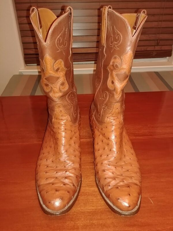Mens, Boots, Lucchese, Size, 12, DFull, Quill, Ostrich, Brown, Western, Rodeo, Cowboy