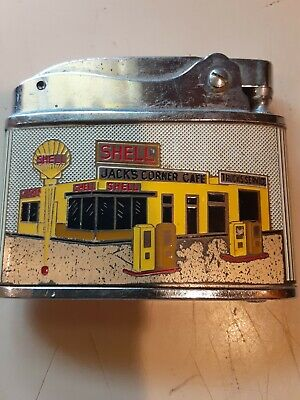 Vintage Shell Oil Lighter Jack's Corner Cafe Litchfield ILL Route 66 Phone 7333