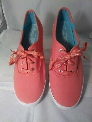 Keds Women's Pink Orange White Lace Up Sneakers Shoes Size 9M ()