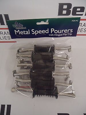 New Update 12x Chrome Metal Liquor Bar Pourer W Hinged Flip Top - One Dozen