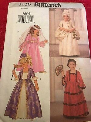 Butterick 3236 GIRLS SPANISH SENORITA MARIE ANTOINETTE COSTUME Size 2-5 Uncut - Girls Marie Antoinette Costume