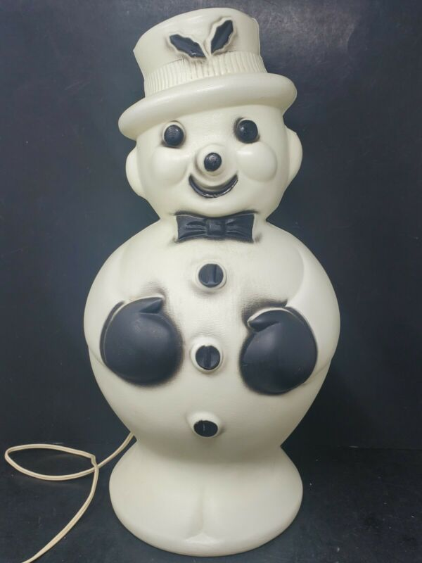 "Vintage BECO 1960s Snowman Blow Mold Plastic Lighted Christmas Yard Decor 19"""