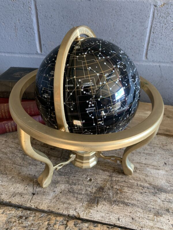 Vintage celestial globe night sky constellation brass stand gemstone LARGE
