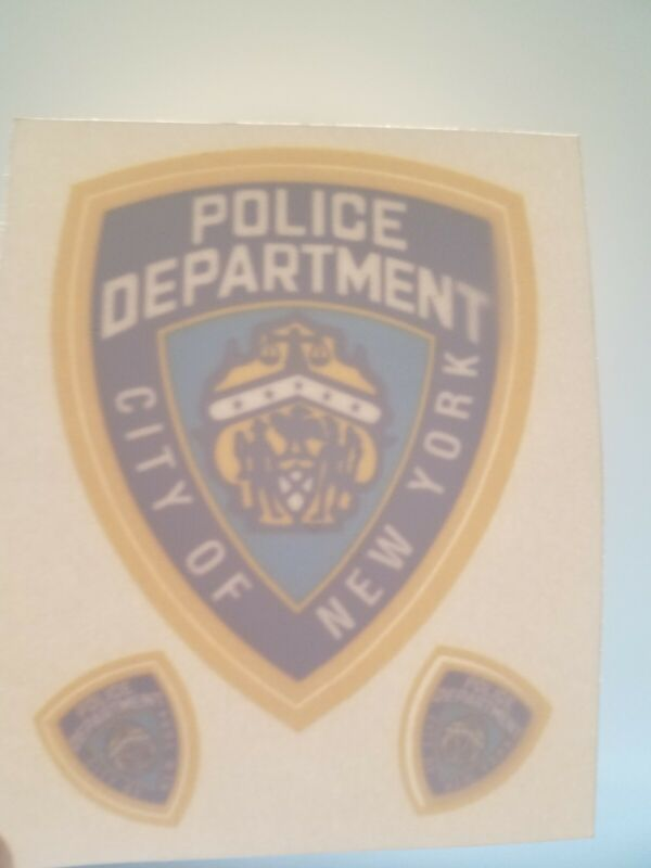 NYPD  In/Window FACES/OUTSIDE OFFICIAL Decal - Removable 1 large, and 2 mini