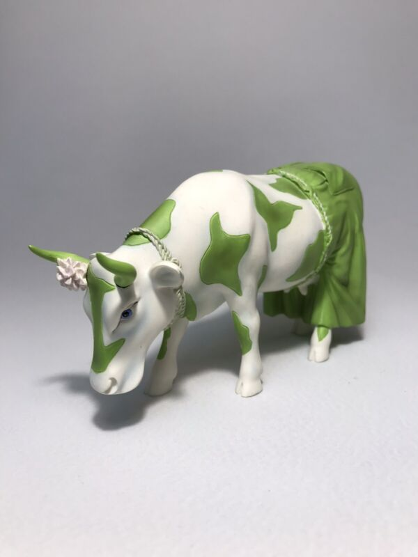 """Cow Parade #7251 """"Clean Jean The Green Holstein"""" With Tag"""