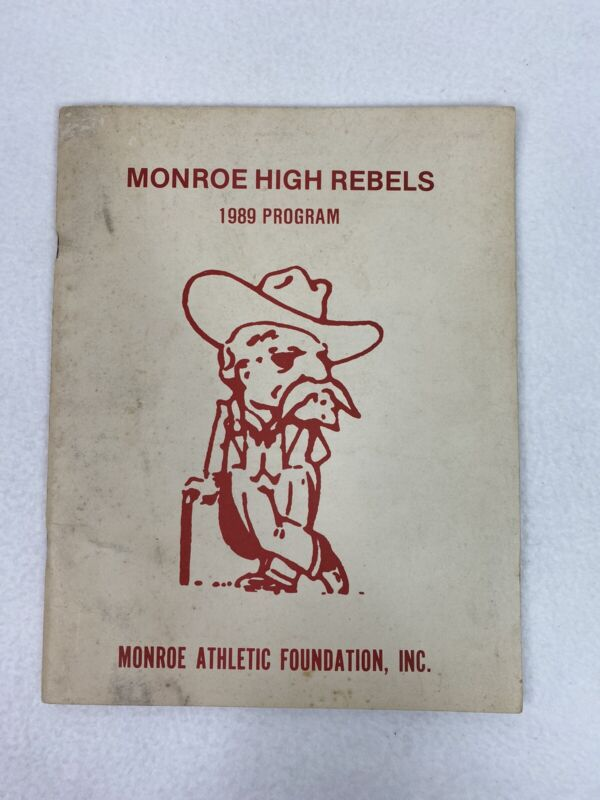 Vintage Monroe High School Rebels 1989 Program Athletic Foundation Old Mascot