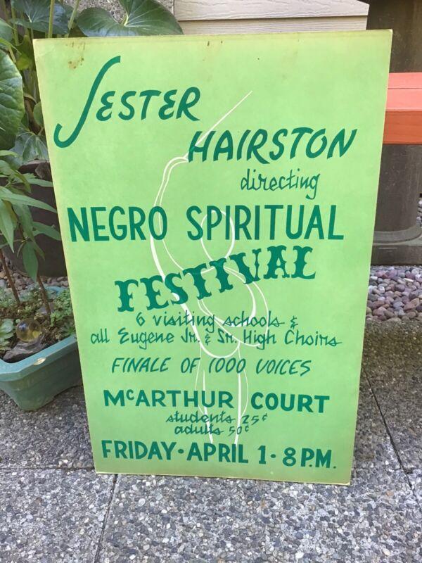 RARE~JESTER HAIRSTON SPIRITUAL SLAVE SONG FESTIVAL POSTER~UNIVERSITY OF OREGON