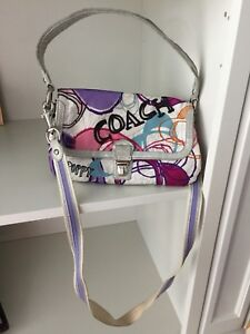Coach 18362 Poppy Silver Leather Layla Crossbody Bag Purse