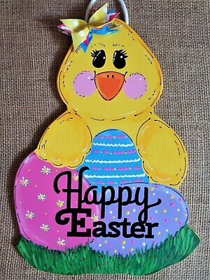 Easter Wall Decorations (HAPPY EASTER CHICK w/EGGS SIGN Wall Art Door Hanger PLAQUE Seasonal Spring)