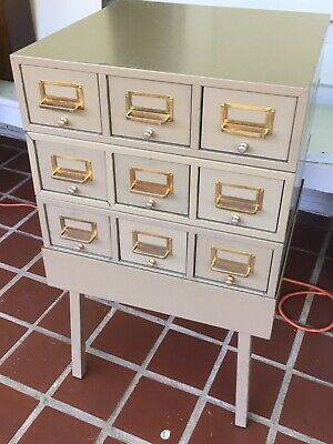 Mcm Metal Card Catalog Library File 9 Drawer 4pc Sectional W Stand - Industrial